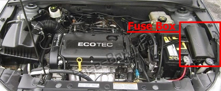 The location of the fuses in the engine compartment: Chevrolet Orlando (J309; 2011-2018)