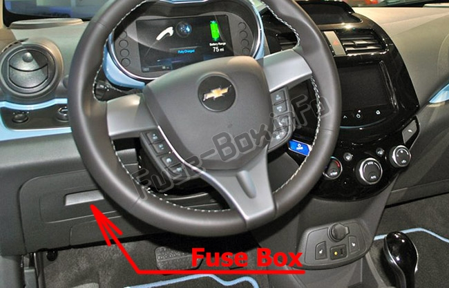 The location of the fuses in the passenger compartment: Chevrolet Spark (M300; 2010-2015)