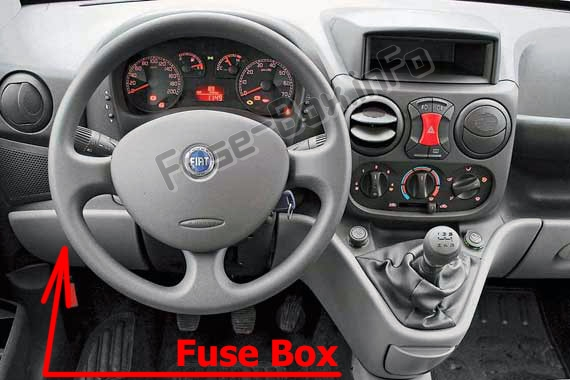 The location of the fuses in the passenger compartment: Fiat Doblo (mk1; 2005-2009)