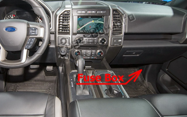 The location of the fuses in the passenger compartment: Ford F-150 (2015-2019..)
