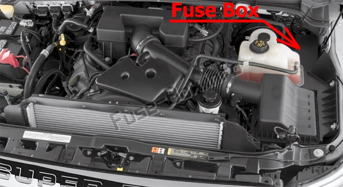 The location of the fuses in the engine compartment: Ford F-250 / F-350 / F-450 / F-550 (2013-2015)