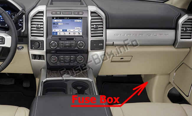 The location of the fuses in the passenger compartment: Ford F-250 / F-350 / F-450 / F-550 (2017-2019..)