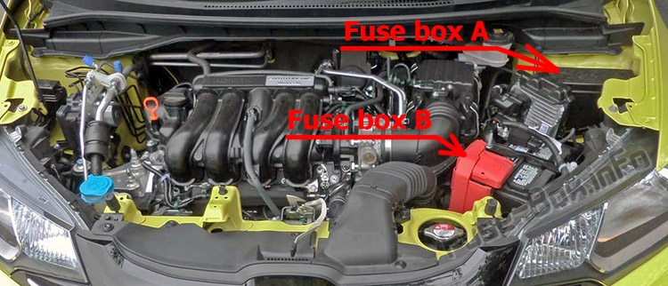 The location of the fuses in the engine compartment: Honda Fit (GK; 2015-2019..)