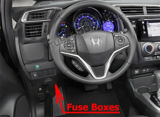 The location of the fuses in the passenger compartment: Honda Fit (GK; 2015-2019..)