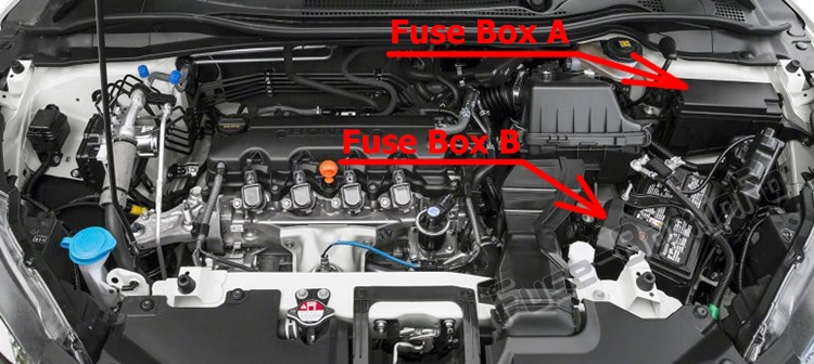 The location of the fuses in the engine compartment: Honda HR-V (2016-2019..)