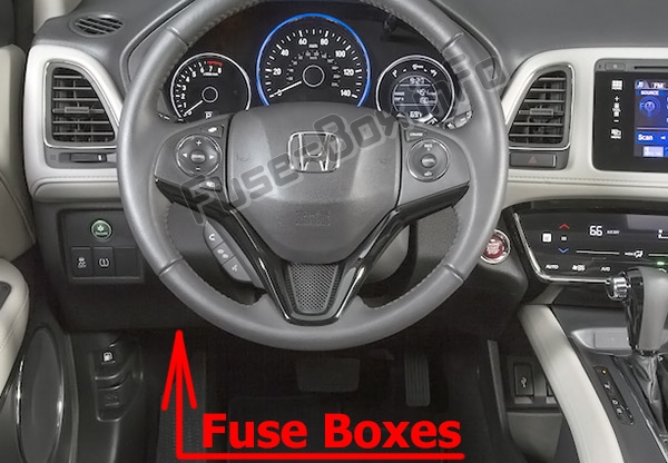 The location of the fuses in the passenger compartment: Honda HR-V (2016-2019..)