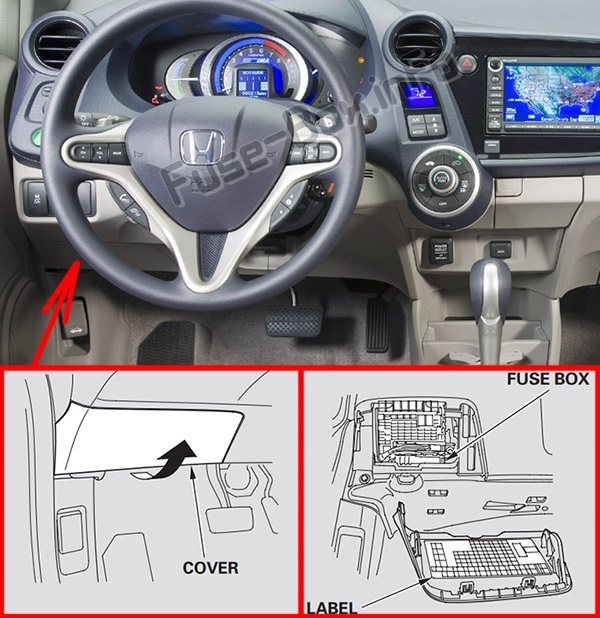 The location of the fuses in the passenger compartment: Honda Insight (2010-2014)