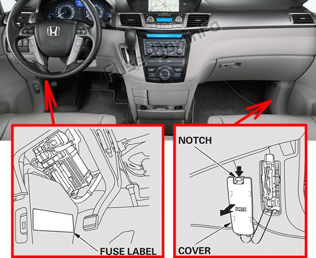 The location of the fuses in the passenger compartment: Honda Odyssey (RL5; 2011-2017)