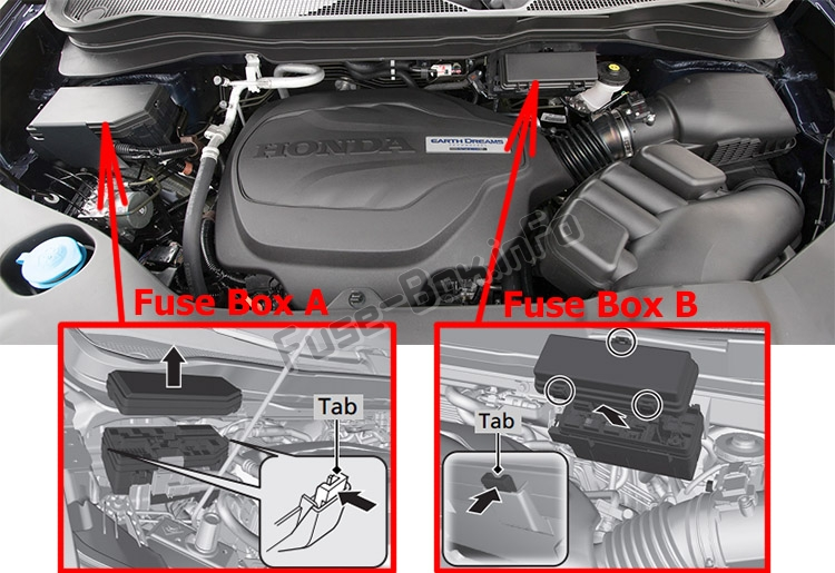 The location of the fuses in the engine compartment: Honda Pilot (2016-2019..)