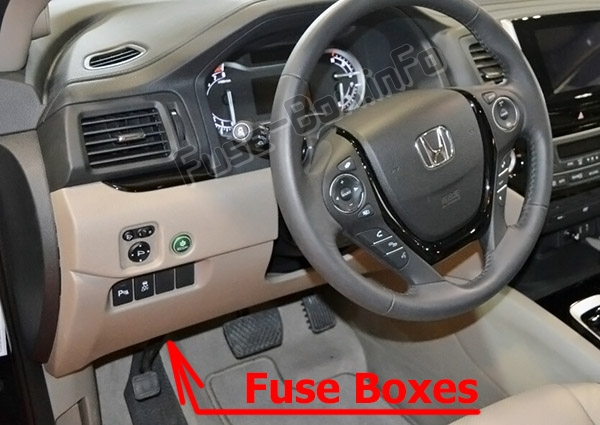 The location of the fuses in the passenger compartment: Honda Pilot (2016-2019..)