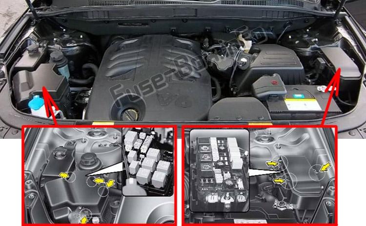 The location of the fuses in the engine compartment: Hyundai Veracruz / ix55 (2007-2012)