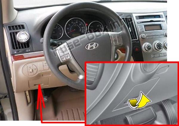 The location of the fuses in the passenger compartment: Hyundai Veracruz / ix55 (2007-2012)