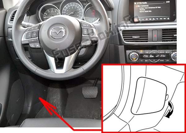 The location of the fuses in the passenger compartment: Mazda CX-5 (2013-2016)