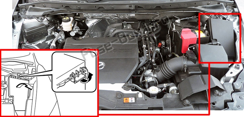 The location of the fuses in the engine compartment: Mazda CX-7 (2006-2012)