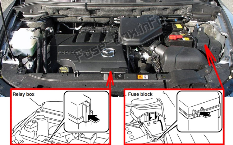 The location of the fuses in the engine compartment: Mazda CX-9 (2006-2015)