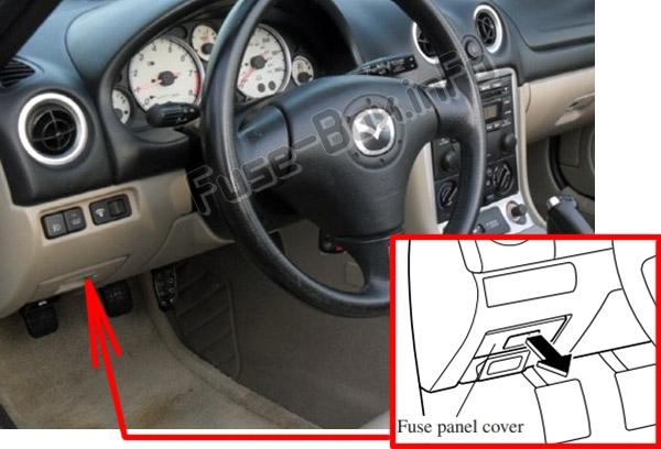 The location of the fuses in the passenger compartment: Mazda MX-5 Miata (1999-2005)