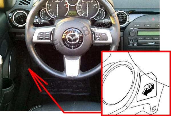 The location of the fuses in the passenger compartment: Mazda MX-5 Miata (NC; 2006-2015)