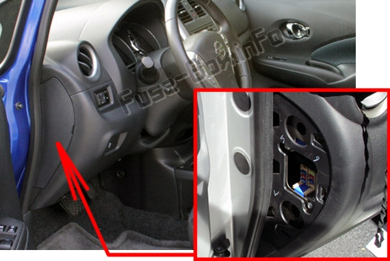The location of the fuses in the passenger compartment: Nissan Versa Note / Note (2013-2018)