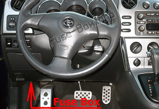The location of the fuses in the passenger compartment: Toyota Matrix (E130; 2003-2009)
