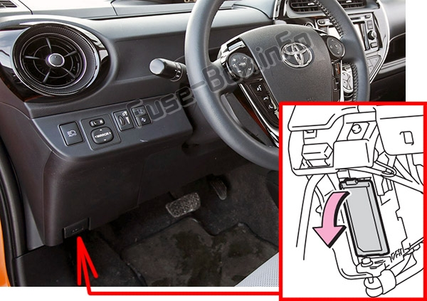 The location of the fuses in the passenger compartment: Toyota Prius C (2012-2017)
