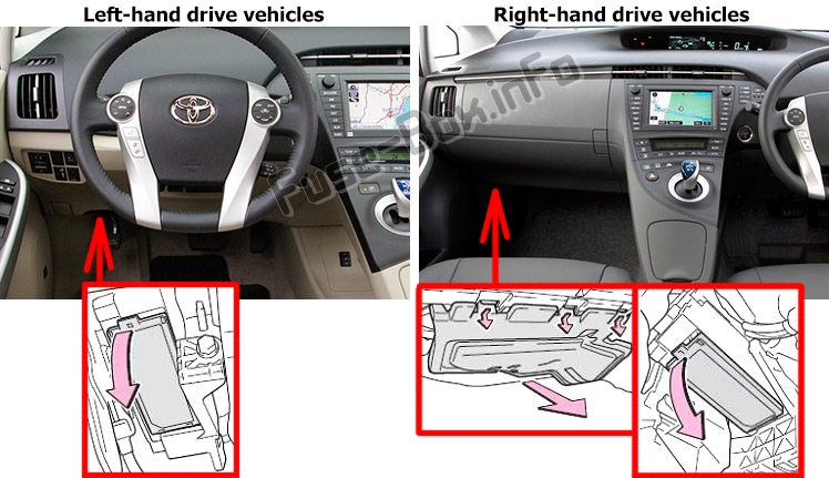 The location of the fuses in the passenger compartment: Toyota Prius (XW30; 2010-2015)