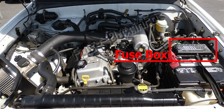 The location of the fuses in the engine compartment: Toyota Tacoma (2001-2004)