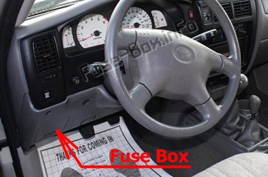 The location of the fuses in the passenger compartment: Toyota Tacoma (2001-2004)