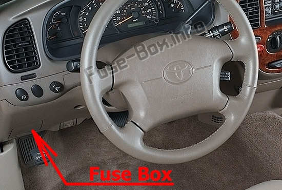 The location of the fuses in the passenger compartment: Toyota Tundra (2000-2006)