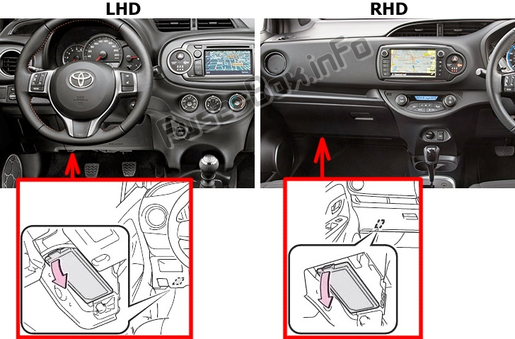 The location of the fuses in the passenger compartment: Toyota Yaris / Vitz (XP140; 2011-2018)