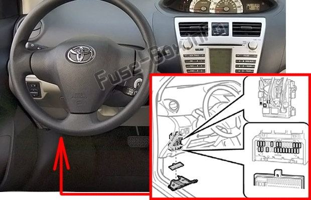 The location of the fuses in the passenger compartment: Toyota Yaris / Vitz / Belta (XP90; 2005-2013)