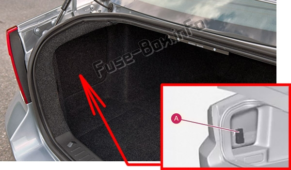 The location of the fuses in the luggage compartment: Volvo S80 (2011-2016)