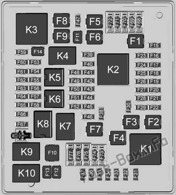Under-hood fuse box diagram: Cadillac XT6 (2020-...)