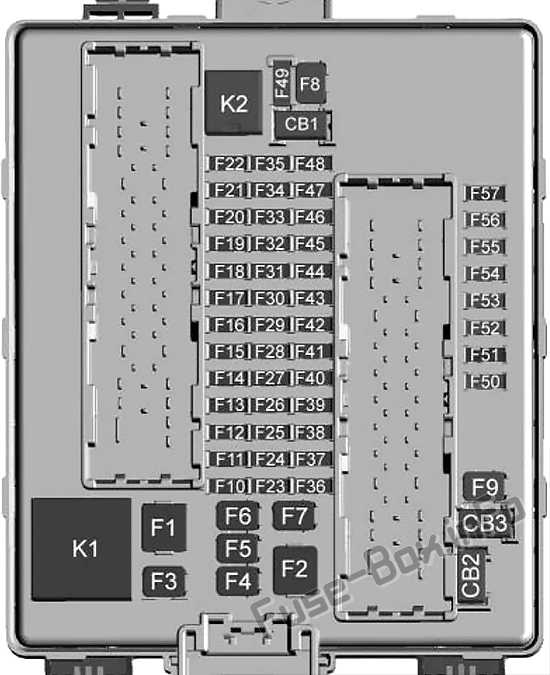Trunk fuse box diagram: Cadillac XT6 (2020-...)