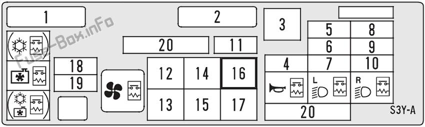 Under-hood fuse box diagram: Honda Insight (2000, 2001, 2002, 2003, 2004, 2005, 2006)