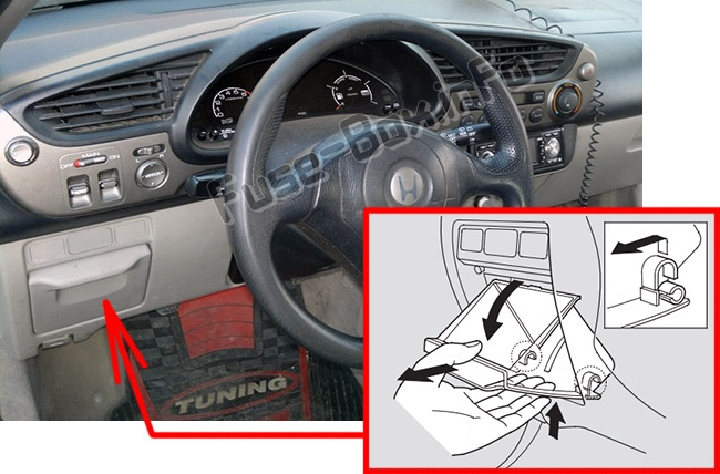 The location of the fuses in the passenger compartment: Honda Insight (2000-2006)