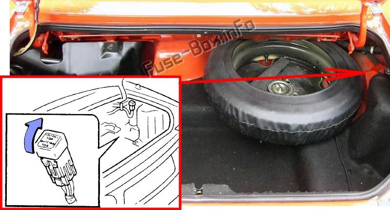 The location of the fuses in the trunk: Mazda MX-5 Miata (NA; 1989-1997)