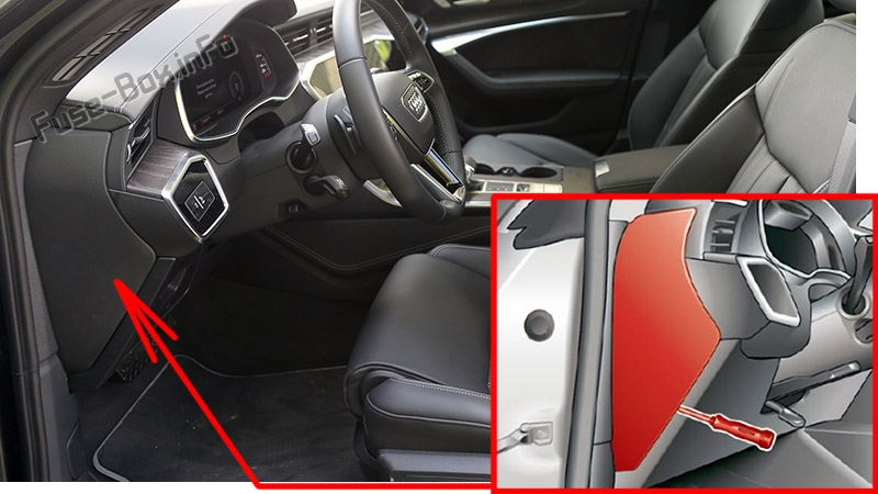 The location of the fuses in the passenger compartment: Audi A6 / S6 (2018-2020...)