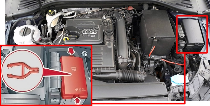 The location of the fuses in the engine compartment: Audi Q3 (2018-2020..)