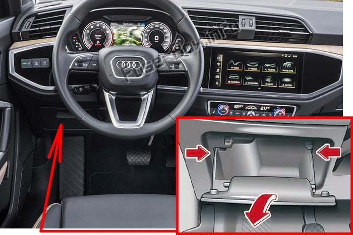 The location of the fuses in the passenger compartment (LHD): Audi Q3 (2018-2020..)