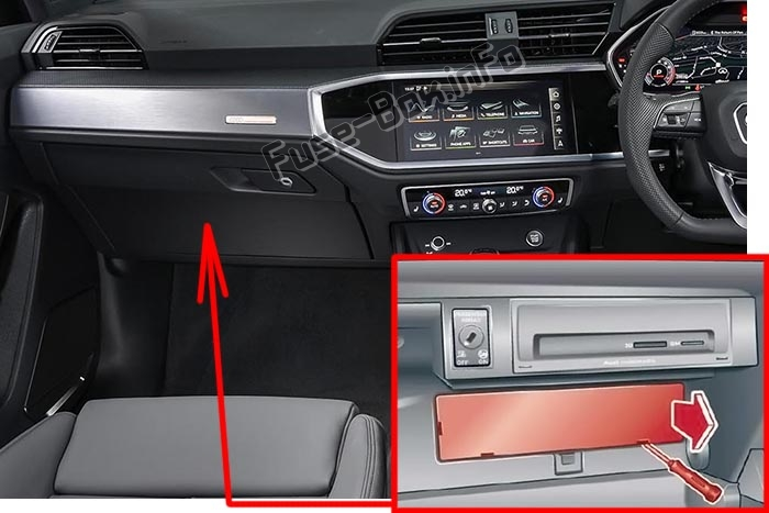 The location of the fuses in the passenger compartment (RHD): Audi Q3 (2018-2020..)