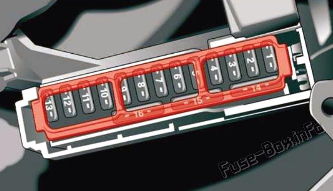 Cockpit fuse panel diagram: Audi Q5 (2018, 2019, 2020..)