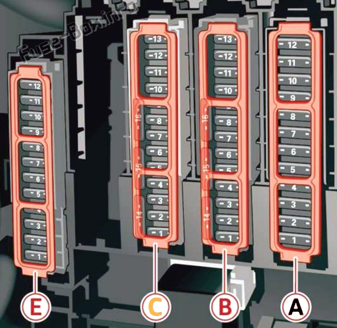 Trunk fuse box diagram: Audi Q5 (2018, 2019, 2020..)