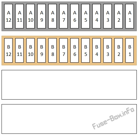Under-hood fuse box diagram: Audi TT (2008, 2009, 2010, 2011, 2012, 2013, 2014)