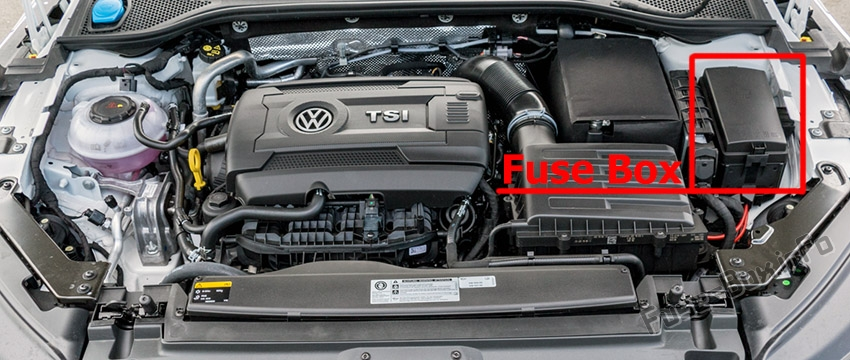 The location of the fuses in the engine compartment: Volkswagen Arteon (2017, 2018, 2019)