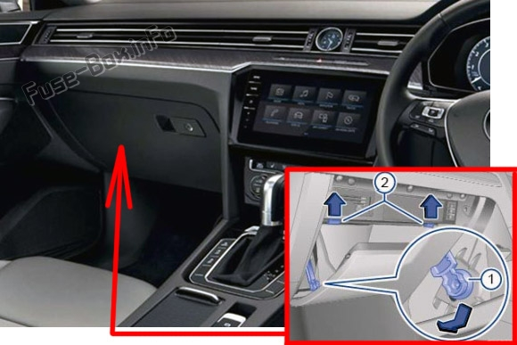 The location of the fuses in the passenger compartment (RHD): Volkswagen Arteon (2017, 2018, 2019)