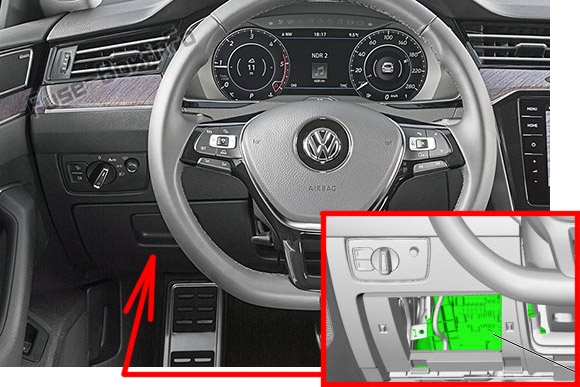 The location of the fuses in the passenger compartment (LHD): Volkswagen Arteon (2017, 2018, 2019)