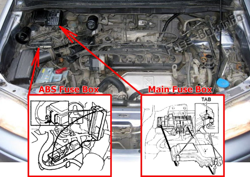 The location of the fuses in the engine compartment: Isuzu Oasis (1996-1999)