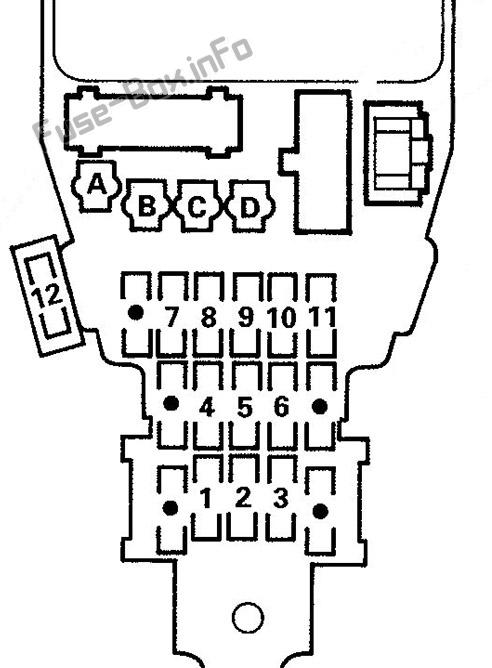 Interior fuse box diagram: Isuzu Oasis (1996, 1997, 1998, 1999)