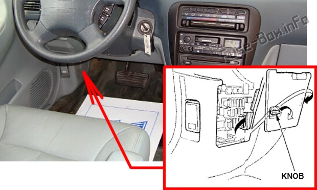 The location of the fuses in the passenger compartment: Isuzu Oasis (1996-1999)