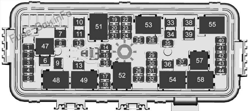 Under-hood fuse box diagram: Cadillac CT4 (2020, 2021)